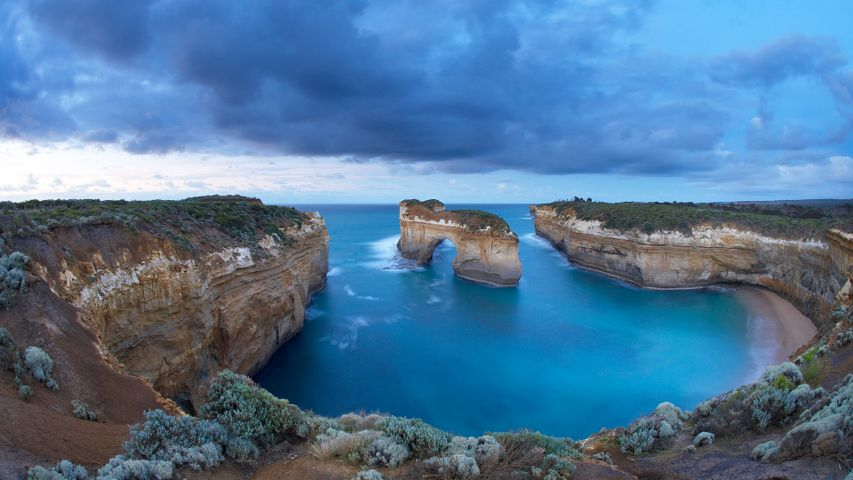 Window arch at Loch Ard Gorge at dawn, Port Campbell National Park, Victoria