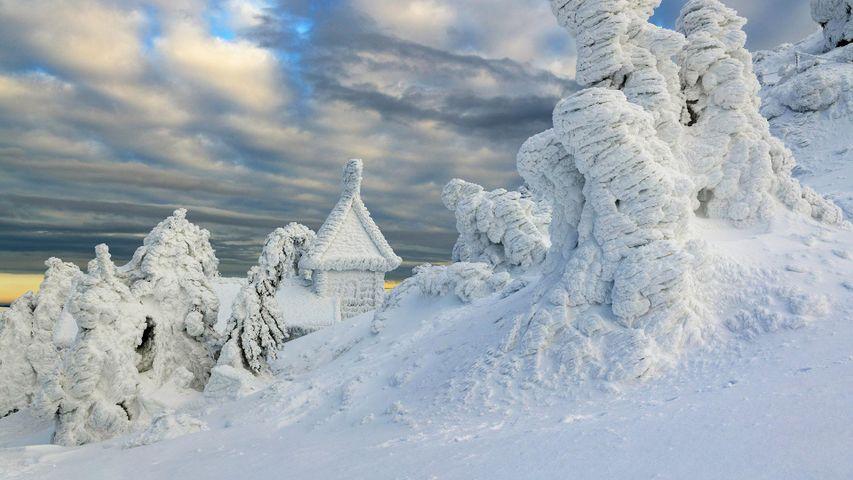 Eingeschneite Arberkapelle am Großen Arber, Niederbayern, Bayern