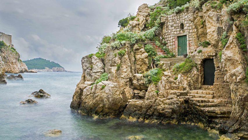 Base of Fort Lovrijenac in Kolorina Bay, Dubrovnik, Croatia