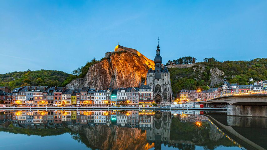 The town of Dinant and the River Meuse in Namur province, Belgium