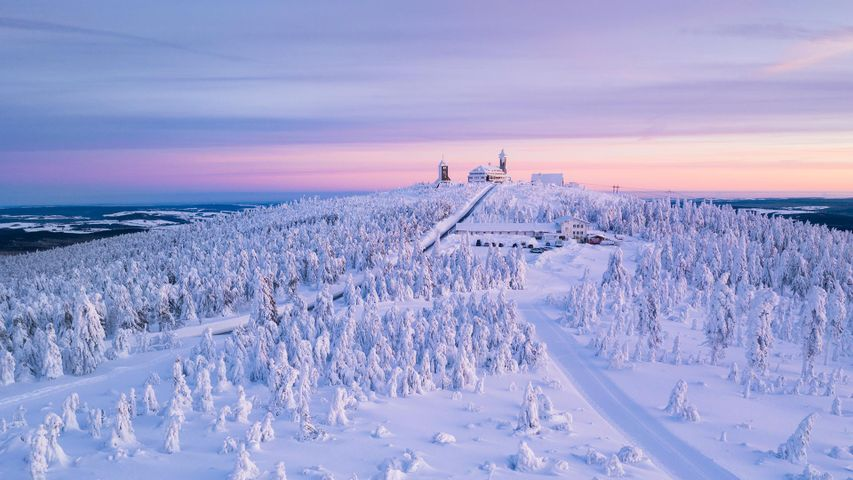 Weather Station and Fichtelberghaus Hotel on Fichtelberg Mountain (1214m), Oberwiesenthal, Ore Mountains, Erzgebirge, Saxony, Germany