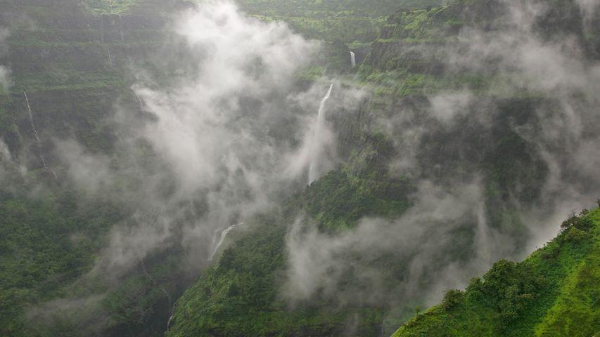 Sahyadri mountain range during the monsoon season in India