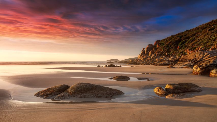 Beach in the evening light at Whisky Bay, Wilsons Promontory National Park, Victoria