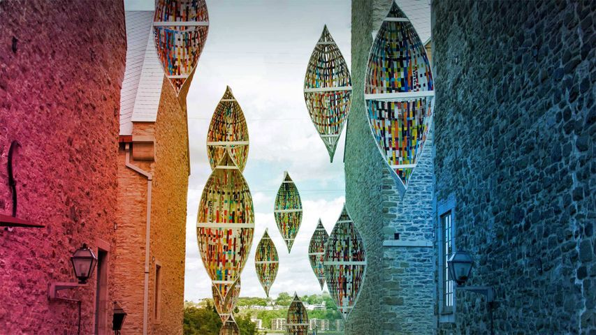 'Passage migratoire' ('Migratory Passage'), an art installation by Giorgia Volpe in Old Québec City, Québec, Canada