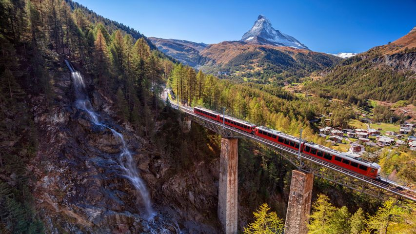 mountain train outdoor track sky nature tree valley