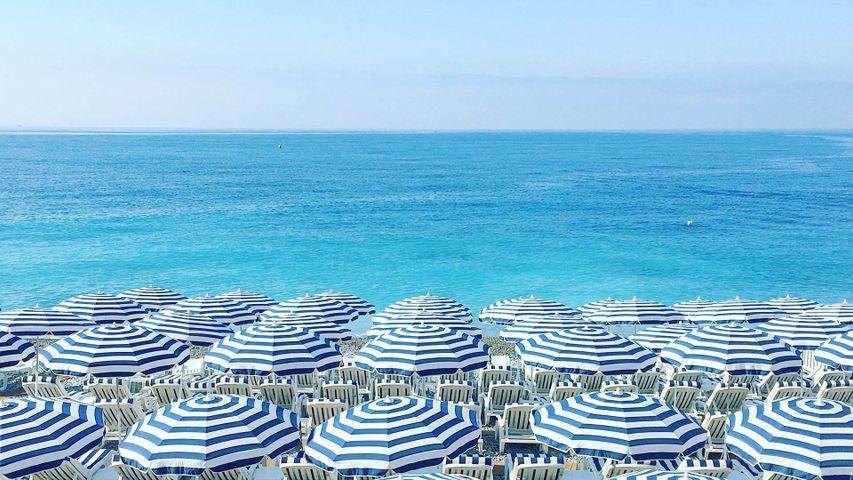 Parasols et chaises longues sur une plage, Côte d'Azur, Nice