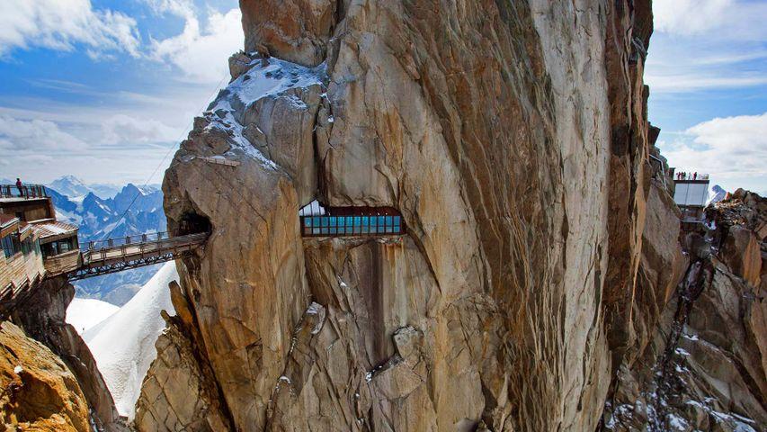 A walkway through a mountain peak in Chamonix, France