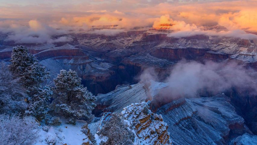 Winter at the Isis Temple in Grand Canyon National Park, Arizona
