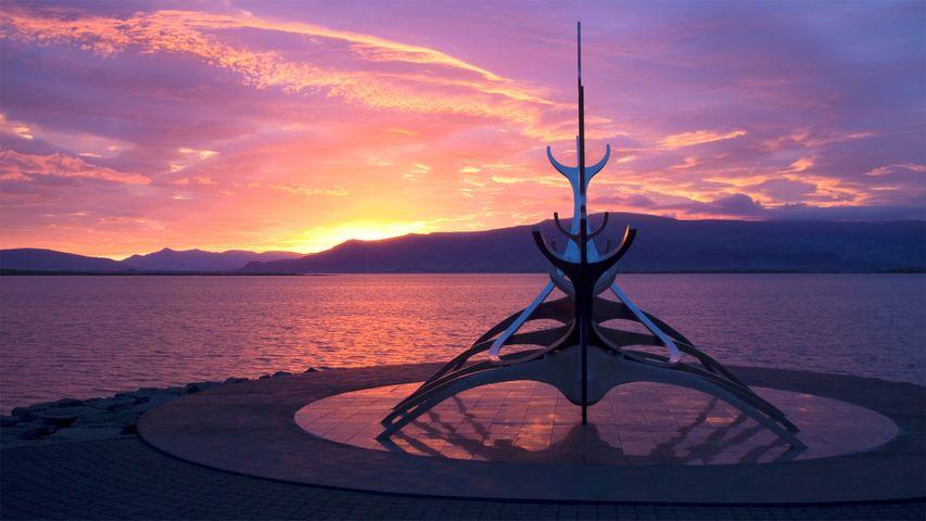 The Sun Voyager sculpture by Jón Gunnar Árnason in Reykjavik, Iceland