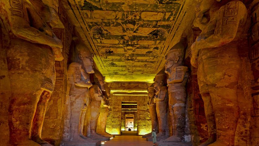 The interior of the Great Temple of Ramesses II, Abu Simbel, Egypt