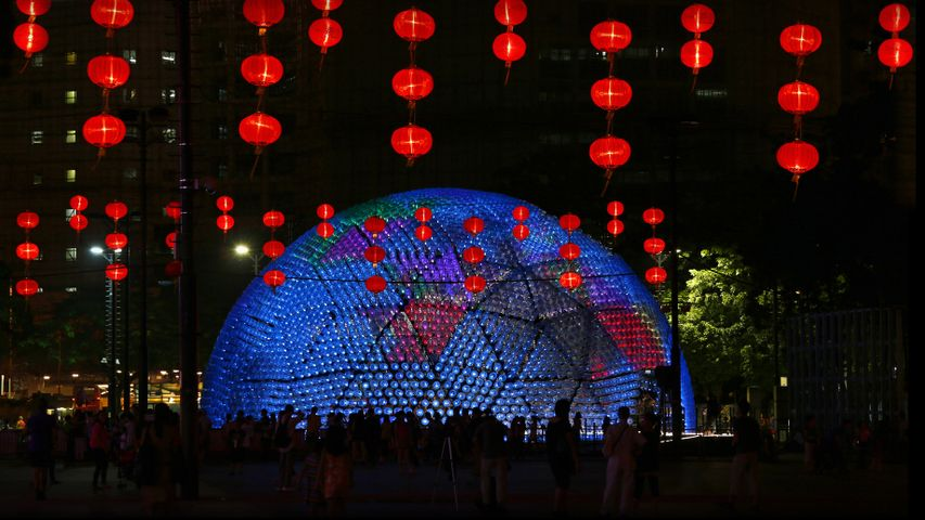 'Rising Moon' lantern to celebrate the Mid-Autumn Festival in Hong Kong's Victoria Park