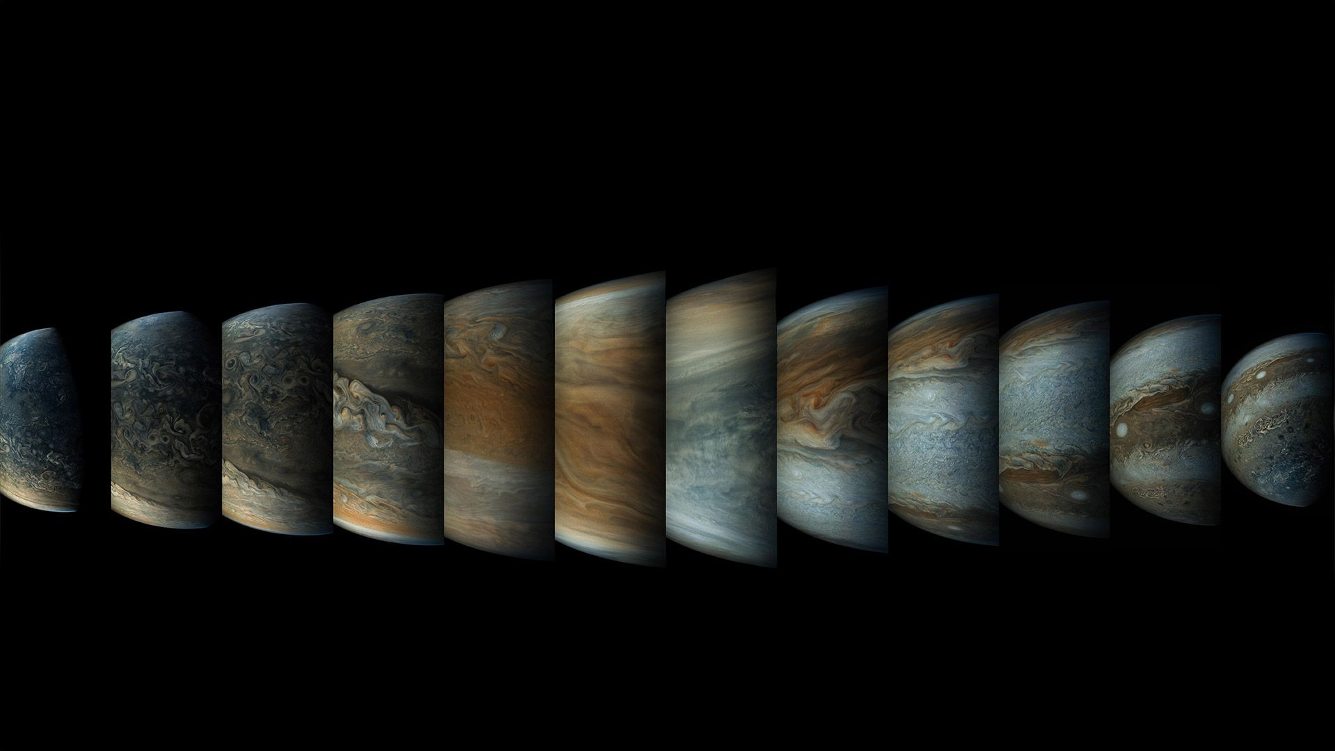 Sequence of colour-enhanced images of Jupiter