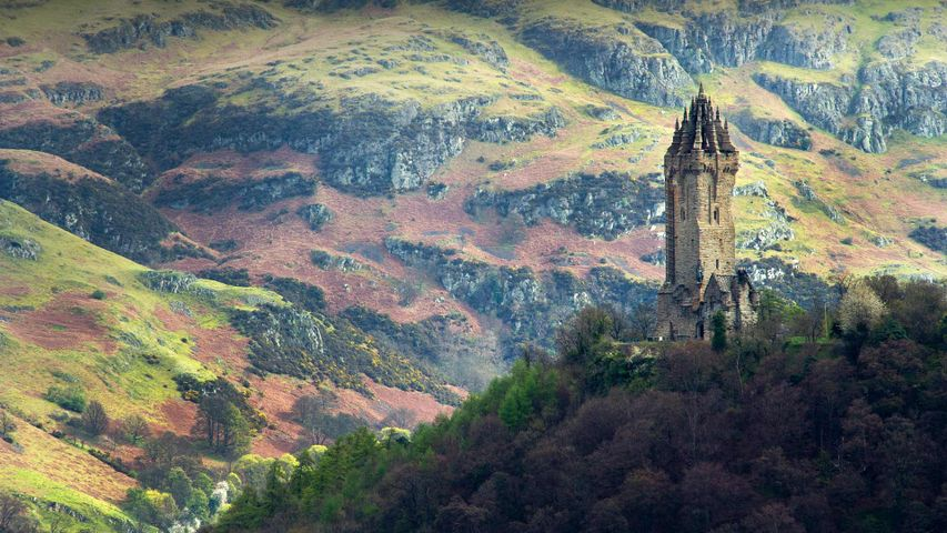 The National Wallace Monument overlooking Stirling in Scotland
