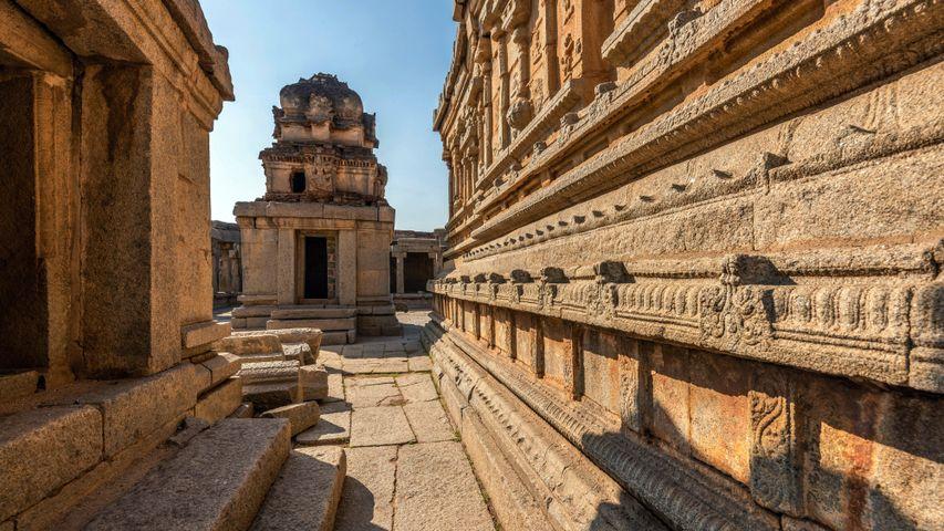 Ancient architecture of Sri Krishna Temple ruins in Hampi, India