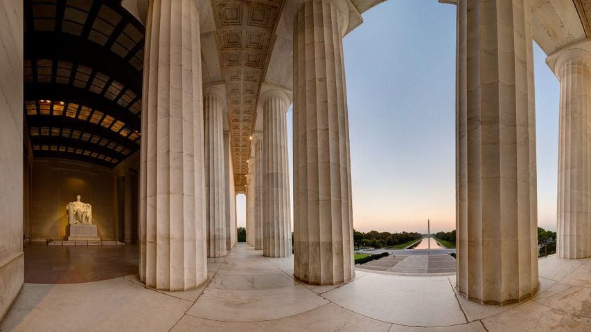 Stitched panorama of the Lincoln Memorial with a view toward the Washington Monument, Washington, DC