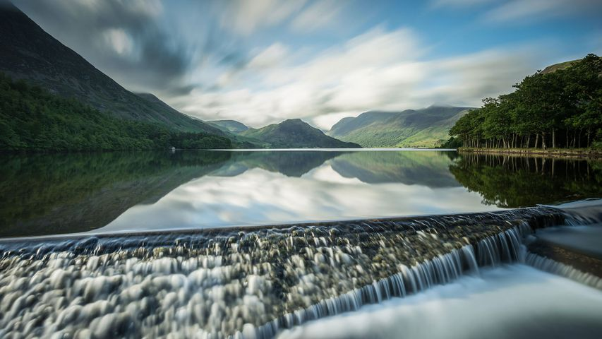 Reflections on Crummock Water in the Lake District, Cumbria, England
