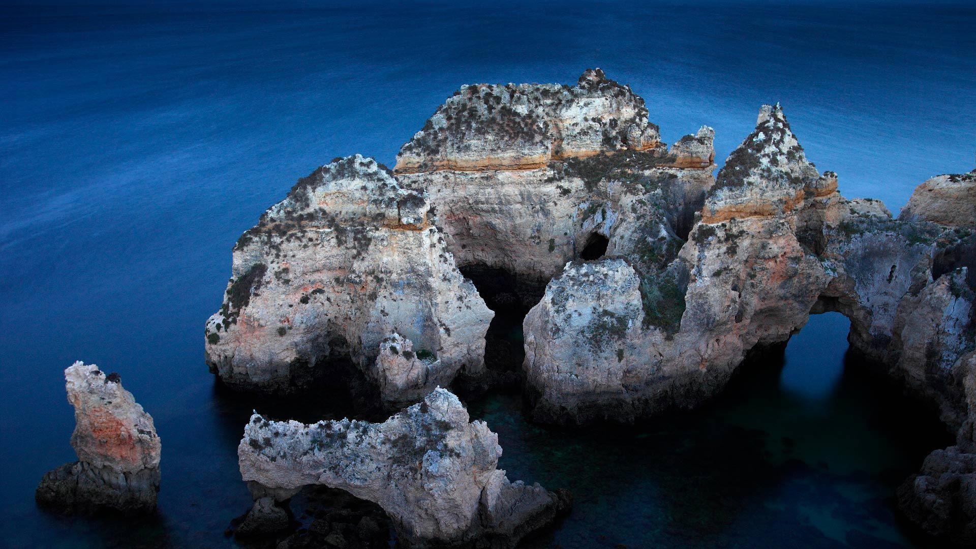 Ponta da Piedade rock formations off the coast of the Algarve, Portugal