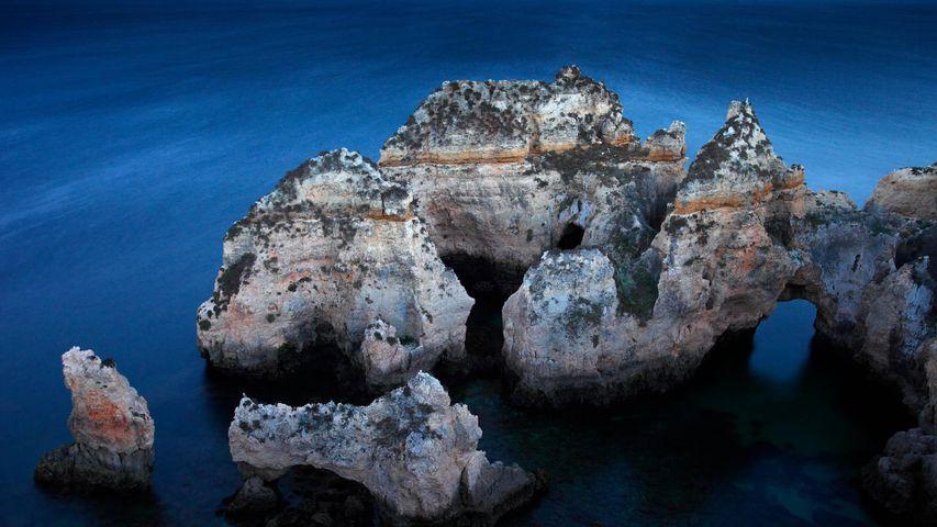 Ponta da Piedade rock formations off the coast of Algarve, Portugal