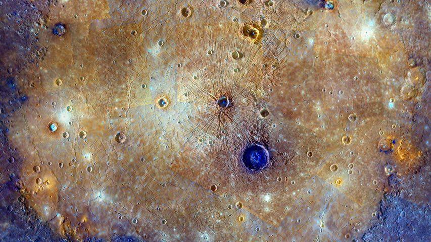 Enhanced-color composite of the Caloris Basin, Mercury
