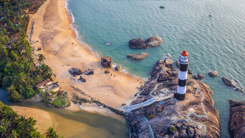 Aerial view of the lighthouse at Kaup, Karnataka