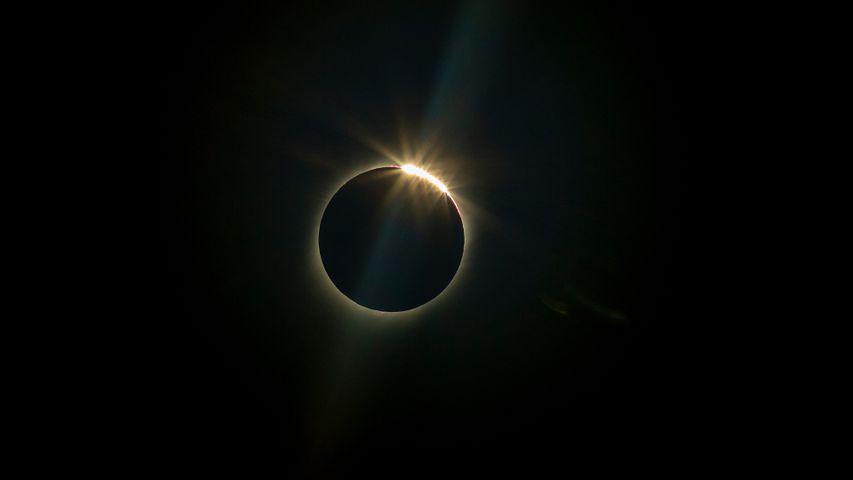 Le soleil caché par la lune lors de l'éclipse totale de La Higuera, Chili, le 2 juillet 2019