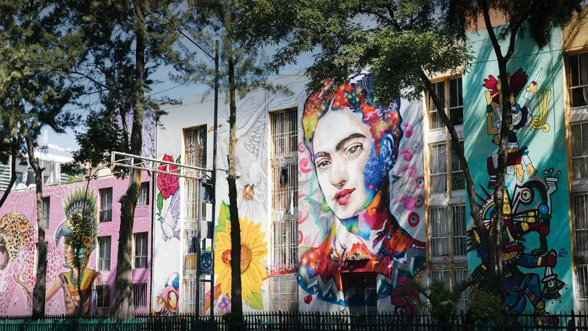 Mural of Frida Kahlo on an apartment building in Mexico