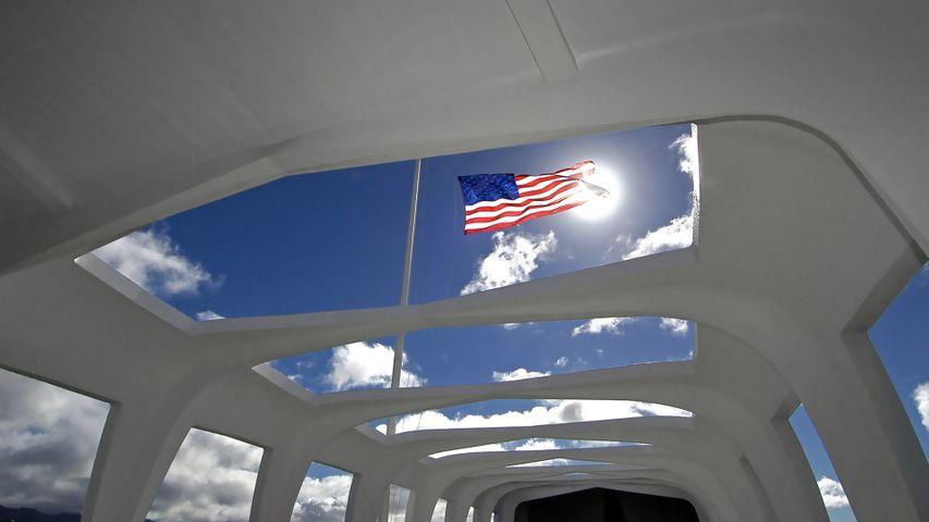 Flag above the USS Arizona Memorial in Honolulu, Hawaii