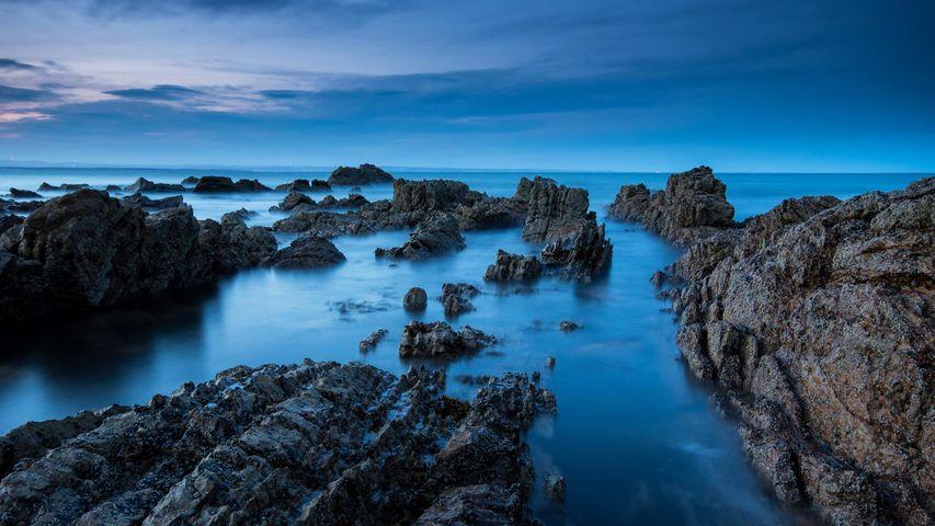 View of the coastline at dusk, Saint Andrews, Fife
