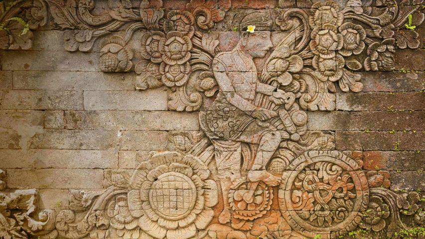 A carving of artist W.O.J. Nieuwenkamp in the Pura Meduwe Karang temple in Bali, Indonesia