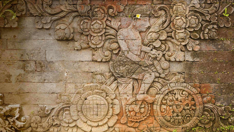 A carving of artist W.O.J. Nieuwenkamp in the Pura Meduwe Karang temple in Bali, Indonesia