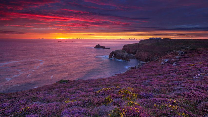 Sunset over Land's End, Cornwall in late summer