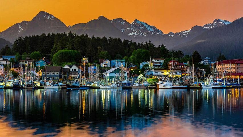 View of the harbor in Sitka, Alaska