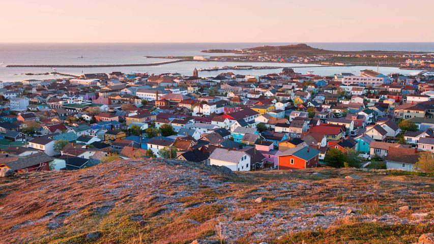 Saint Pierre panorama at sunrise, Saint Pierre and Miquelon