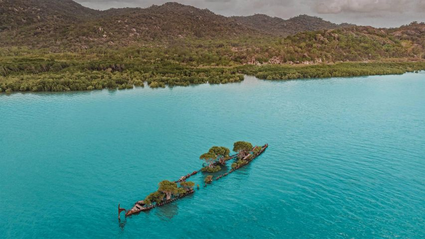 Aerial view of the City of Adelaide shipwreck, Magnetic Island, Queensland, Australia