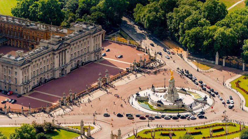 Buckingham Palace and the Victoria Memorial in London for Queen Victoria's bicentennial year