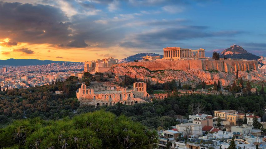 The Parthenon temple in the Acropolis of Athens, Greece
