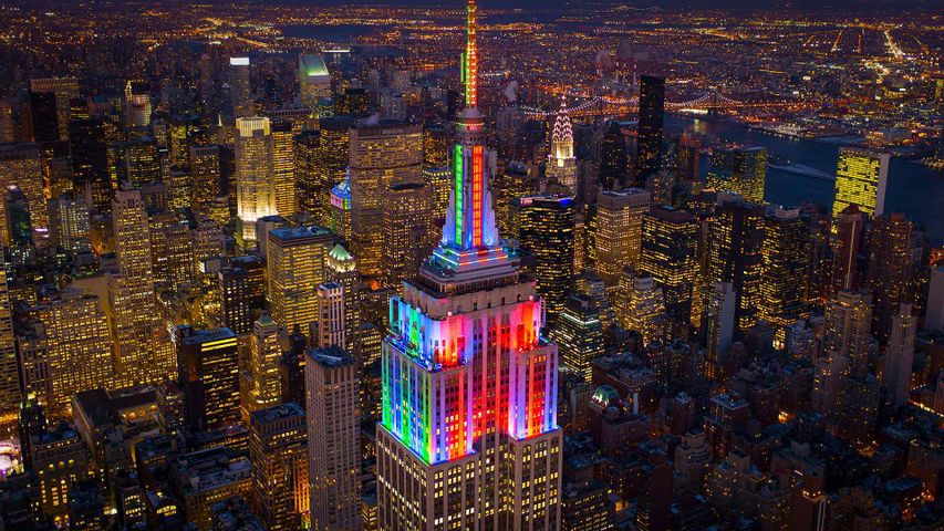 The Empire State Building lit up in honour of Pride Weekend in 2014, New York City, USA