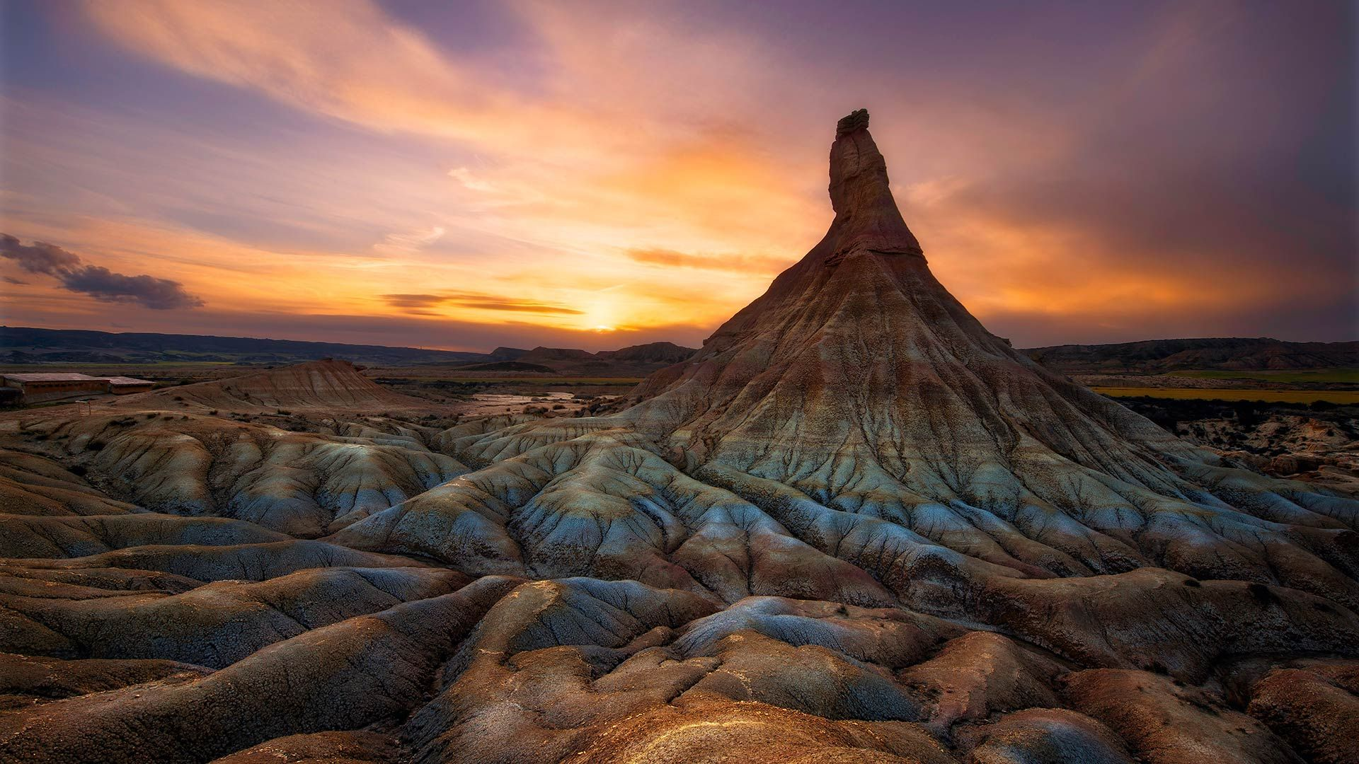 Colourful sunset over Castildetierra, in the Natural Park of Bardenas Reales, Navarre, Spain