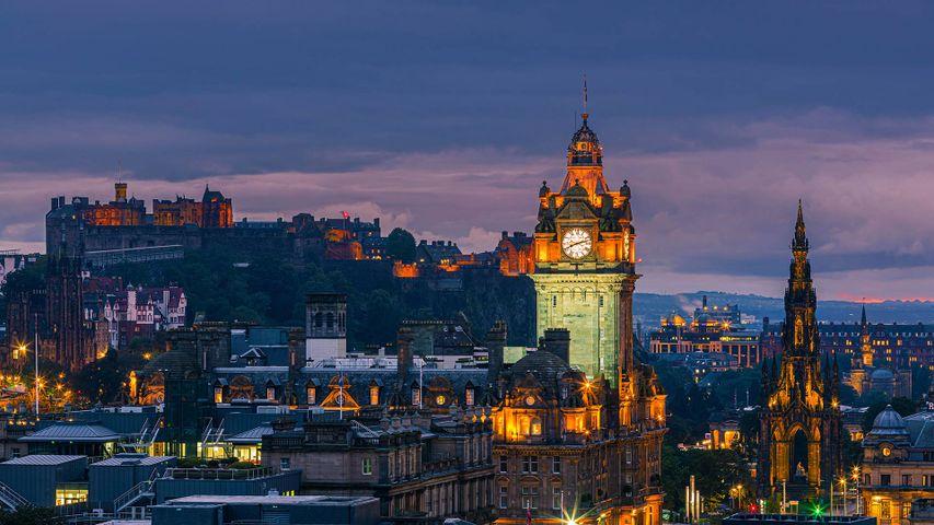 Twilight view over Edinburgh as seen from Calton Hill