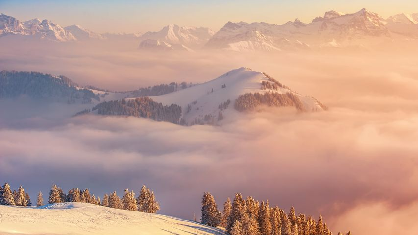 outdoor snow sky landscape mountain nature fog covered
