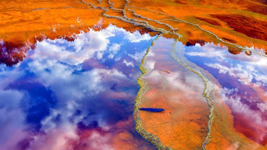 Mineral-laden water in the Rio Tinto in Minas de Rio Tinto mining area, Huelva province, Andalusia, Spain
