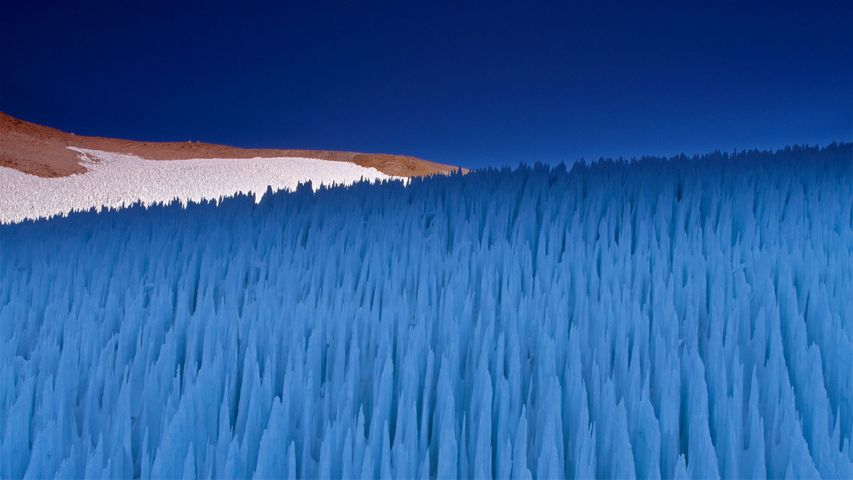 Nieve penitente ice formations seen on Agua Negra Pass in the Coquimbo Region of the Andes, Chile