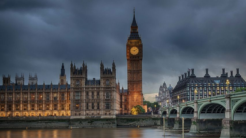 Houses of Parliament on a cloudy evening in London
