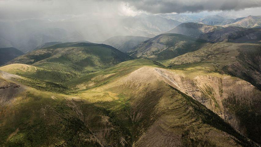 纳汉尼国家公园保护区的鸟瞰图,加拿大西北部